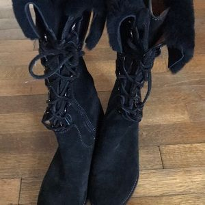 Black Suede Boots.  Soft. Size 10.  Barely worn